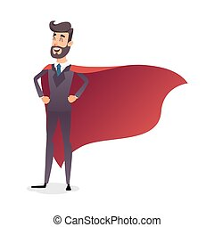 Cartoon superhero standing with cape waving in the wind....