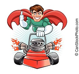 Cartoon superhero with lawn mower - Cartoon superhero lawn...