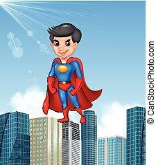 Cartoon superhero with skyscraper background
