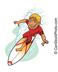Cartoon Surfer Action - cartoon surfer is surfing on a wave...
