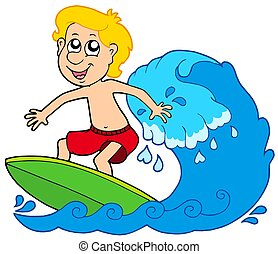 Cartoon surfer boy - isolated illustration.