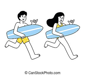 Cartoon surfer girl and guy couple running with surfboard...