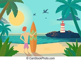 Cartoon Surfer holding a surf board on tropical beach. Vector