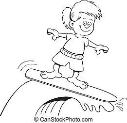 Cartoon surfing girl