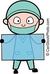 Cartoon Surgeon holding a glass banner