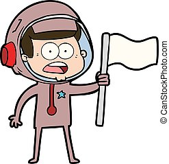 cartoon surprised astronaut waving flag