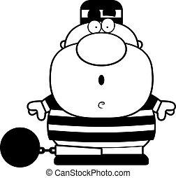 Cartoon Surprised Prisoner - A cartoon illustration of a...