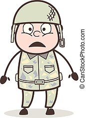 Cartoon Surprised Sergeant Face Expression Vector...