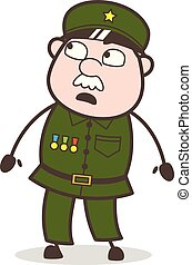 Cartoon Surprised Sergeant Watching Vector Illustration