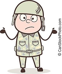 Cartoon Surprised Soldier Vector Character