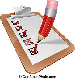 Cartoon Survey Clipboard with Pencil - An illustration of a...