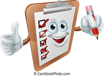 A cartoon clipboard survey mascot giving a thumbs up and holding a pencil