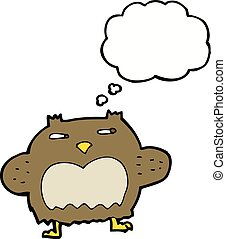 cartoon suspicious owl with thought bubble