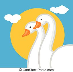 Cartoon Swan Birds Couple