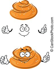 Cartoon sweet bun character with sesame seeds