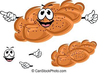 Cartoon sweet bun with poppy seeds