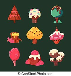 Cartoon Sweet Candy Land Collection. Vector Illustration