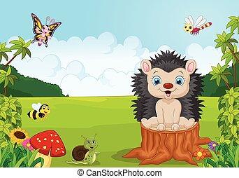 Cartoon sweet hedgehog in the jungl