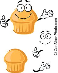Cartoon sweet muffin with thumb up