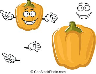 Cartoon sweet yellow bell pepper vegetable