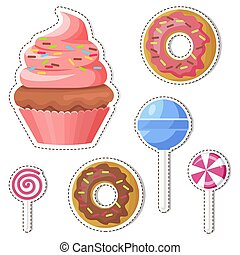 Cartoon Sweets Vector Stickers or Icons Set