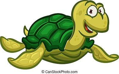 Cartoon swimming sea turtle character