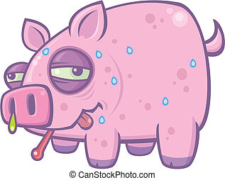 Vector cartoon illustration of a sweaty, sick pig with the Swine Flu.