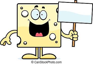 Cartoon Swiss Cheese Sign - A cartoon illustration of a...