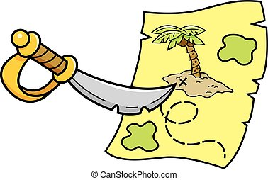 Cartoon sword pointing at a treasure map.