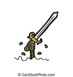 cartoon sword rising from water