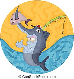 Cartoon swordfish illustration