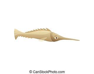 Cartoon swordfish on white background. Water life.