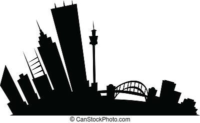 Cartoon skyline silhouette of the city of Sydney, New South Wales, Australia.