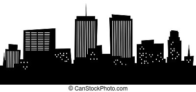 Cartoon Syracuse - Cartoon skyline silhouette of the city of...