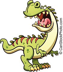 Cartoon T-Rex - Roaring cartoon T-Rex dinosaur. Vector clip...