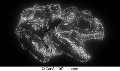cartoon t-rexwith skull digital neon video - cartoon t-rex ...