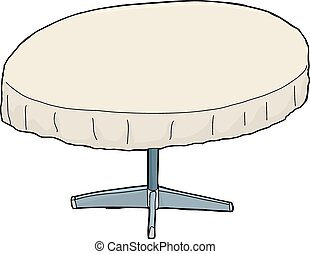 Cartoon Table with Tablecloth
