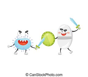 Cartoon tablet with a shield and sword fighting with a microbe. Vector illustration on a white background.