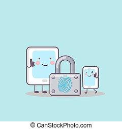 cartoon tablet  with fingerprint lock