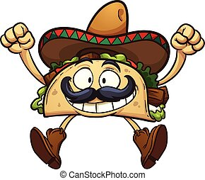 Cartoon taco - Happy cartoon taco with Mexican sombrero....