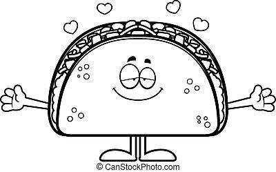 Cartoon Taco Hug - A cartoon illustration of a taco ready to...