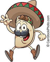 Cartoon taco wearing a sombrero. Vector clip art...