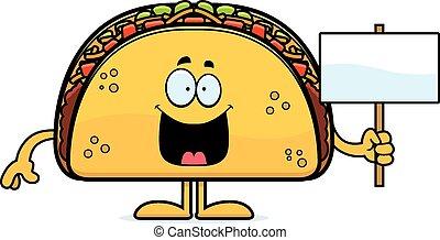 Cartoon Taco Sign - A cartoon illustration of a taco holding...