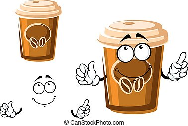 Cartoon takeaway coffee cup with lid