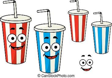 Cartoon takeaway soda striped cups