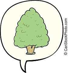 cartoon tall tree and speech bubble