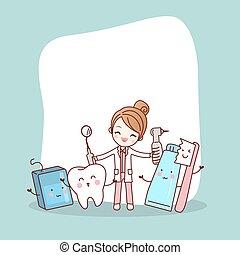 cartoon, tand, kammerat, hos, tandlæge