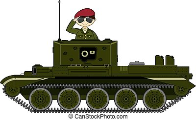 Cartoon Tank and Saluting Soldier