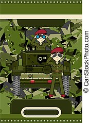 Cartoon Tank and Soldiers