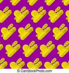 Cartoon Tank pattern seamless. War machine toy background. Baby fabric texture. vector ornament